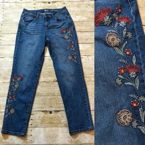 Style & Co Embroidered Curvy Boyfriend Jeans